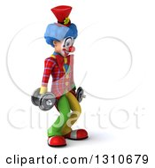 Clipart Of A 3d Clown Character Working Out Facing Right And Doing Squats With Dumbbells Royalty Free Illustration