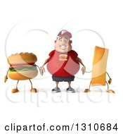 3d Happy White Chubby Guy In A Red Burger Shirt Holding Hands With A Hamburger And French Fry