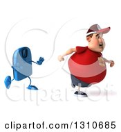 Clipart Of A 3d Chubby White Guy In A Red Burger Shirt Being Chased By A Scale Royalty Free Illustration by Julos