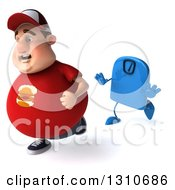 Clipart Of A 3d Chubby White Guy In A Red Burger Shirt Being Chased By A Scale 2 Royalty Free Illustration by Julos
