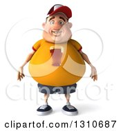 Clipart Of A 3d Chubby White Guy In A Yellow Beer Shirt Royalty Free Illustration