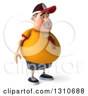 Clipart Of A 3d Chubby White Guy In A Yellow Beer Shirt Facing Right Royalty Free Illustration