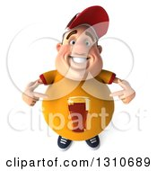 Clipart Of A 3d Chubby White Guy Looking Up And Pointing To His Yellow Beer Shirt Royalty Free Illustration