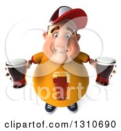 Clipart Of A 3d Chubby White Guy In A Yellow Beer Shirt Looking Up And Holding Beers Royalty Free Illustration by Julos