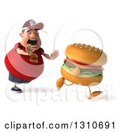 Clipart Of A 3d Chubby White Guy In A Red Burger Shirt Hungrily Chasing A Cheeseburger Royalty Free Illustration