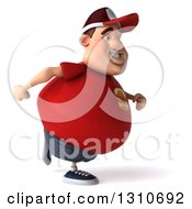 Clipart Of A 3d Chubby White Guy In A Red Burger Shirt Running To The Right Royalty Free Illustration