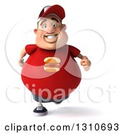 Clipart Of A 3d Chubby White Guy In A Red Burger Shirt Running Royalty Free Illustration