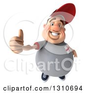 Clipart Of A 3d Chubby White Guy In A Gray English Flag Shirt Holding Up A Thumb Royalty Free Illustration