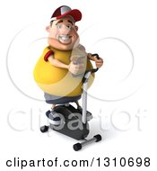 Clipart Of A 3d Chubby White Guy In A Yellow Burger Shirt Exercising On A Spin Bike Royalty Free Illustration