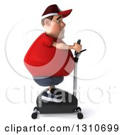 Clipart Of A 3d Chubby White Guy In A Red Burger Shirt Exercising On A Spin Bike Facing Right Royalty Free Illustration