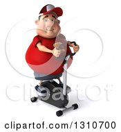 Clipart Of A 3d Chubby White Guy In A Red Burger Shirt Exercising On A Spin Bike Facing Slightly Right Royalty Free Illustration