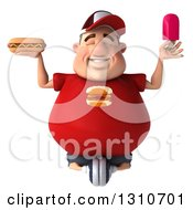 Clipart Of A 3d Chubby White Guy In A Red Burger Shirt Meditating With A Popsicle And Hot Dog Royalty Free Illustration