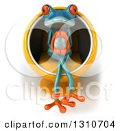 Clipart Of A 3d Turquoise Springer Frog Thinking And Sitting In A Cocoon Chair Royalty Free Illustration