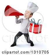 Clipart Of A 3d Young White Male Chef Holding A Gift And Announcing With A Megaphone 2 Royalty Free Illustration