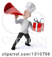 Clipart Of A 3d Young White Male Chef Holding A Gift And Announcing With A Megaphone 3 Royalty Free Illustration