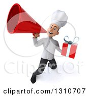 Clipart Of A 3d Young White Male Chef Holding A Gift And Announcing With A Megaphone 4 Royalty Free Illustration