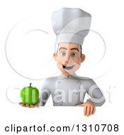 Clipart Of A 3d Young White Male Chef Holding A Green Apple Over A Sign Royalty Free Illustration