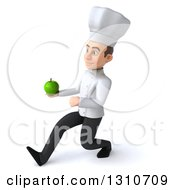 Clipart Of A 3d Young White Male Chef Speed Walking To The Left And Holding A Green Apple Royalty Free Illustration
