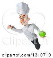 Clipart Of A 3d Young White Male Chef Flying And Holding A Green Apple 3 Royalty Free Illustration