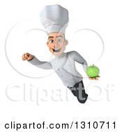 Clipart Of A 3d Young White Male Chef Flying And Holding A Green Apple 2 Royalty Free Illustration