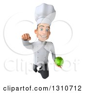 Clipart Of A 3d Young White Male Chef Flying And Holding A Green Apple Royalty Free Illustration
