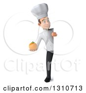 Clipart Of A 3d Full Length Young White Male Chef Holding An Orange Around A Sign Royalty Free Illustration