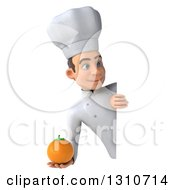 Clipart Of A 3d Young White Male Chef Holding An Orange Around A Sign Royalty Free Illustration