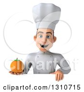 Clipart Of A 3d Young White Male Chef Holding An Orange Over A Sign Royalty Free Illustration