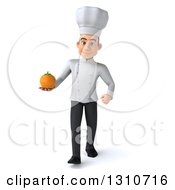 Clipart Of A 3d Young White Male Chef Walking And Holding An Orange Royalty Free Illustration