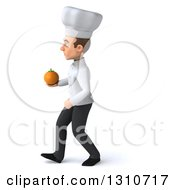 Clipart Of A 3d Young White Male Chef Walking To The Left And Holding An Orange Royalty Free Illustration