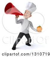 Clipart Of A 3d Young White Male Chef Holding An Orange And Using A Megaphone Royalty Free Illustration