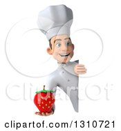 Clipart Of A 3d Young White Male Chef Holding A Strawberry Around A Sign 2 Royalty Free Illustration