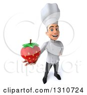 Clipart Of A 3d Young White Male Chef Holding Up A Strawberry Royalty Free Illustration