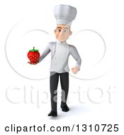 Clipart Of A 3d Young White Male Chef Walking And Holding A Strawberry Royalty Free Illustration
