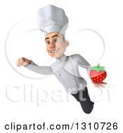 Clipart Of A 3d Young White Male Chef Flying And Holding A Strawberry Royalty Free Illustration
