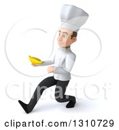 Clipart Of A 3d Young White Male Chef Walking To The Left And Holding A Banana Royalty Free Illustration