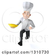Clipart Of A 3d Young White Male Chef Sprinting And Holding A Banana Royalty Free Illustration