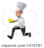Clipart Of A 3d Young White Male Chef Sprinting To The Left And Holding A Banana Royalty Free Illustration