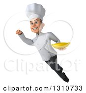 Clipart Of A 3d Young White Male Chef Flying And Holding A Banana 3 Royalty Free Illustration