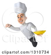 Clipart Of A 3d Young White Male Chef Flying And Holding A Banana 2 Royalty Free Illustration