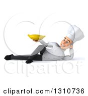 Clipart Of A 3d Young White Male Chef Resting On His Side And Holding A Banana Royalty Free Illustration
