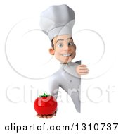 Clipart Of A 3d Young White Male Chef Holding A Tomato Around A Sign Royalty Free Illustration