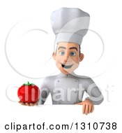 Clipart Of A 3d Young White Male Chef Holding A Tomato Over A Sign Royalty Free Illustration