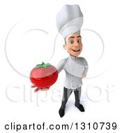 Clipart Of A 3d Young White Male Chef Holding Up A Tomato Royalty Free Illustration