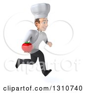 Clipart Of A 3d Young White Male Chef Sprinting To The Right And Holding A Tomato Royalty Free Illustration