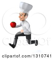 Clipart Of A 3d Young White Male Chef Sprinting To The Left And Holding A Tomato Royalty Free Illustration
