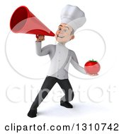 Clipart Of A 3d Young White Male Chef Holding A Tomato Announcing With A Megaphone Royalty Free Illustration