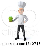 Clipart Of A 3d Young White Male Chef Holding A Green Bell Pepper Royalty Free Illustration