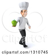 Clipart Of A 3d Young White Male Chef Walking To The Right And Holding A Green Bell Pepper Royalty Free Illustration