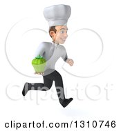 Clipart Of A 3d Young White Male Chef Sprinting To The Right And Holding A Green Bell Pepper Royalty Free Illustration